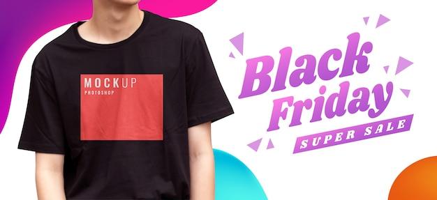 Camisa de banner publicitario con modelo.