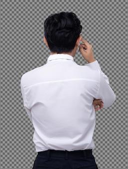 Camisa blanca de hombre de oficina dar la vuelta a la vista trasera y pensar planificando su cabeza sobre el concepto, aislado