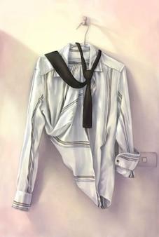 Camisa del bosquejo realistas con lazo