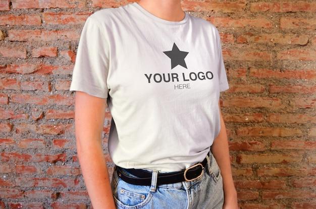 Camiseta maqueta de cerca