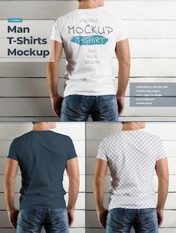 Camiseta de maqueta en el cuerpo de un hombre atlético en la pared de madera