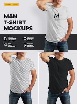 Camiseta de maqueta en el cuerpo de un hombre atlético.