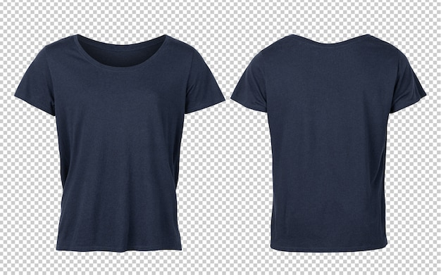 Camisetas de mujer azul profundo maqueta delantera y trasera