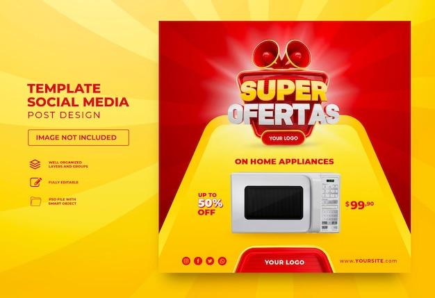 Campaña de marketing en brasil diseño de plantilla 3d render