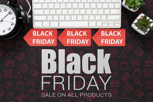 Campaña de viernes negro con etiquetas