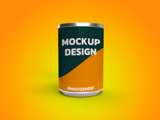 Can food mockup 3d rendering realistico