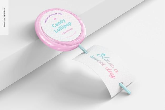 Candy lollipop mockup, leunend