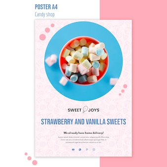 Candy shop poster sjabloon met foto