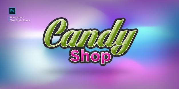 Candy shop teksteffect ontwerp stijleffect