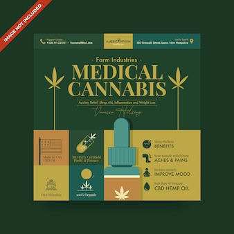 Cannabis hennepolie psd vierkante flyer-sjabloon