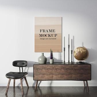 Canvas frame mockup boven consolekast
