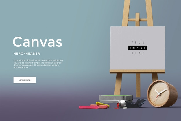 Canvas hero header aangepaste scène