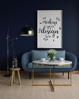 Canvas mockup, kunst aan de muur in de woonkamer