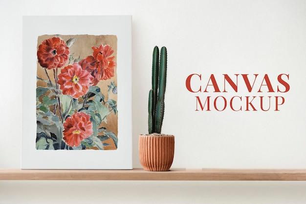 Canvas mockup psd op een plank