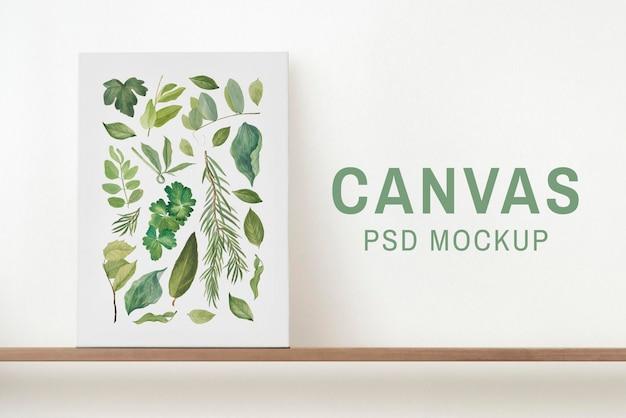 Canvas psd-mockup op een plank