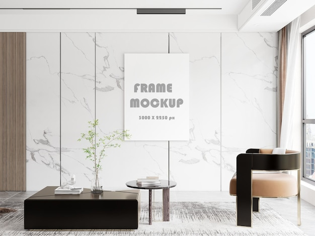 Canvasmodel in een luxe met marmer beklede kamer