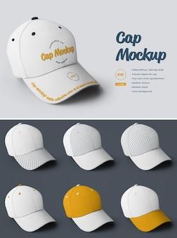 Cap mockups. ontwerp is eenvoudig in het aanpassen van afbeeldingen ontwerpvizier, alle sectoren en alleen voorvizier, kleur alle elementen, heide textuur