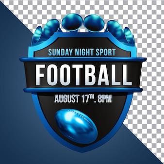 Capa aislada de composición de renderizado 3d de fútbol
