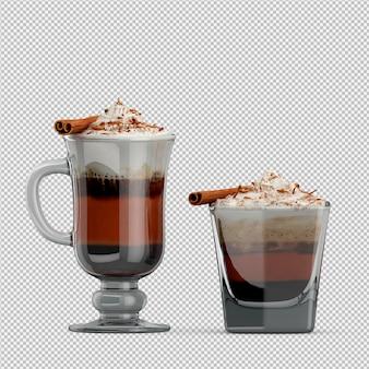 Cappuccino caliente 3d aislado render