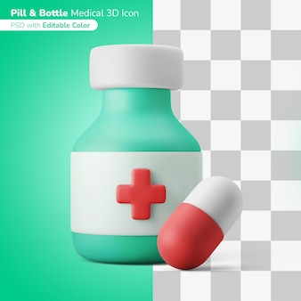 Cápsula de medicina píldora de drogas ilustración 3d icono 3d color editable aislado