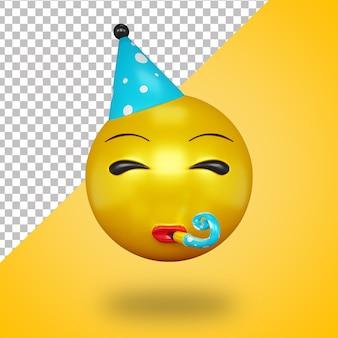 Cara de emoji de fiesta con trompeta en estilo 3d