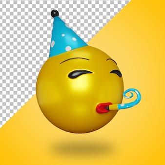 Cara de fiesta 3d con trompeta
