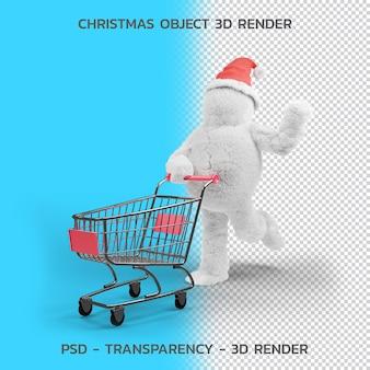 Carácter de cabello y carrito de compras., objeto de navidad 3d render