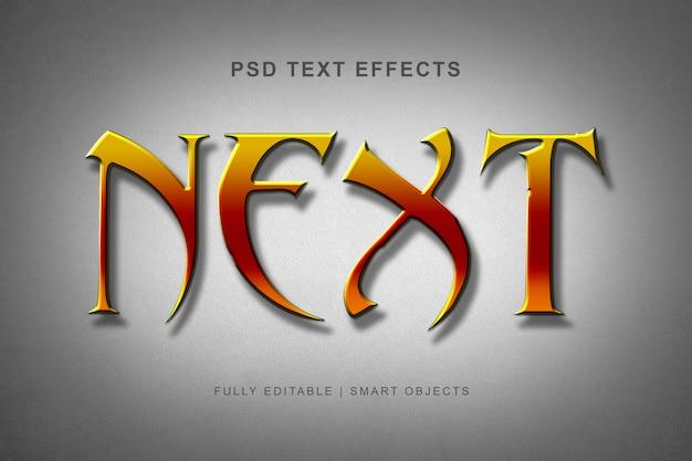 Carattere alfabeto moderno con effetto di testo di colore giallo