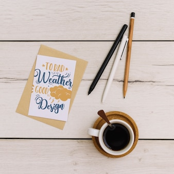 Card mockup con caffè