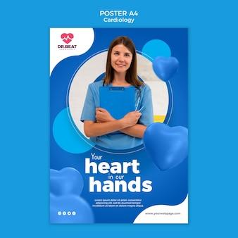 Cardiologie gezondheidszorg poster afdruksjabloon