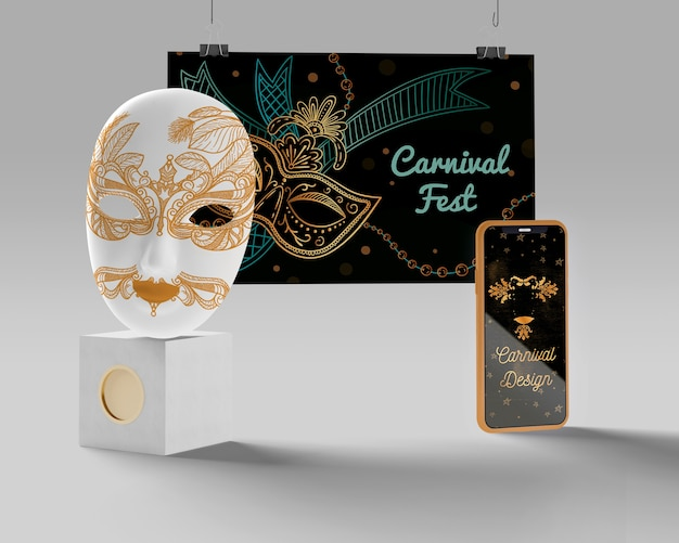 Carnaval fest masker en mobiel