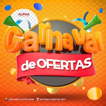 Carnaval-logo renderen met lint geïsoleerd voor compositie