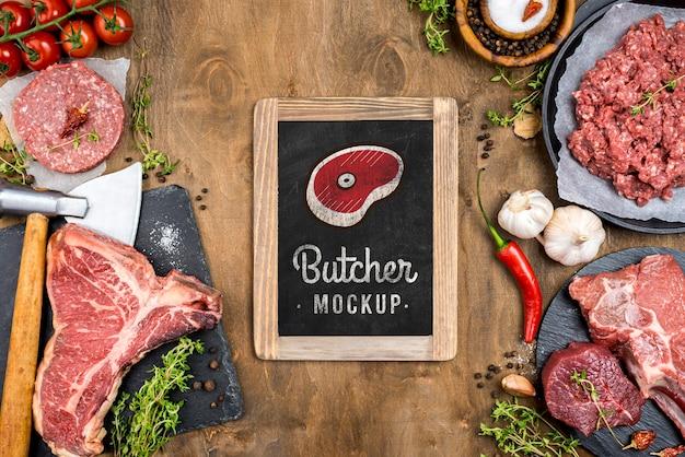 Carnicería laicos plana con carne fresca