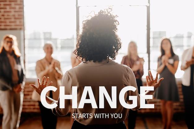 Carrièresjabloon voor empowerment van vrouwen psd met inspirerende quote voor zakenvrouw