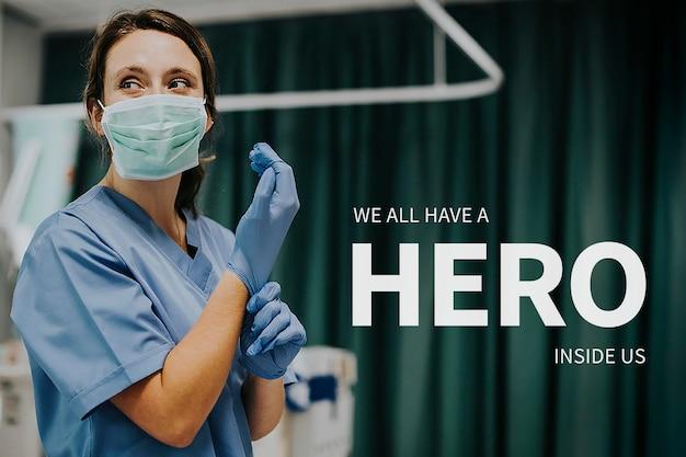 Carrièresjabloon voor vrouwenemancipatie psd met inspirerend citaat voor artsen