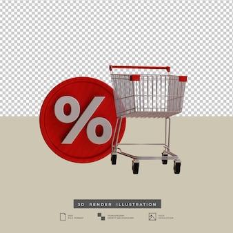 Carro de compras 3d con ilustración de vista frontal de icono de descuento