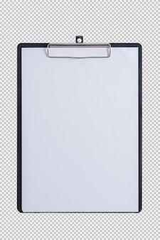 Carta bianca sulla lavagna per appunti del cuscinetto isolata su fondo bianco