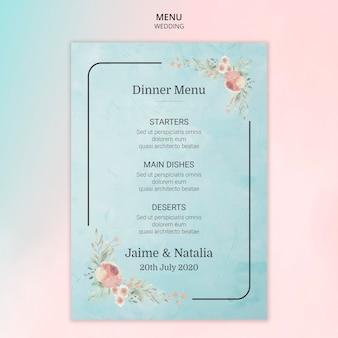 Carta del menu di nozze con fiori