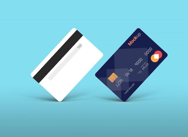 Carta di debito, carta di credito o smart card mockup, vista anteriore e posteriore