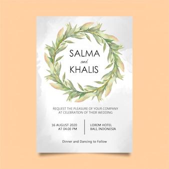 Carta modello elegante invito di nozze fogliame dell'acquerello