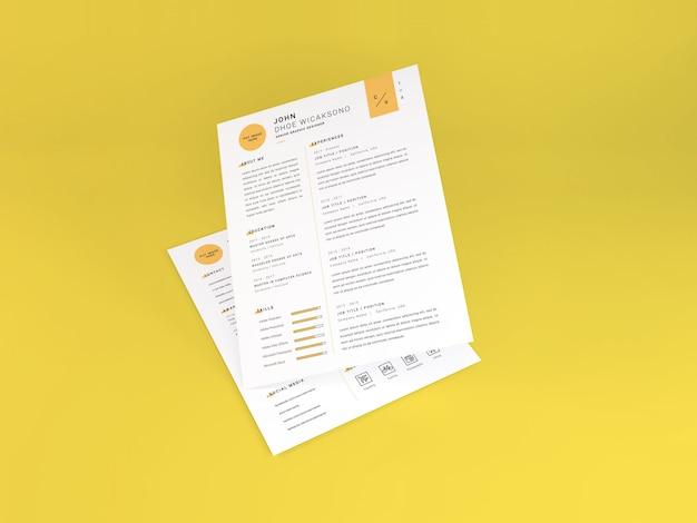 Carta realista tamaño curriculum vitae maqueta tempate