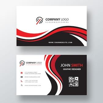 Cartão corporativo vermelho e preto ondulado