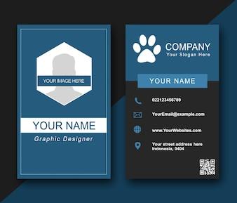 Cartão de nome azul moderno
