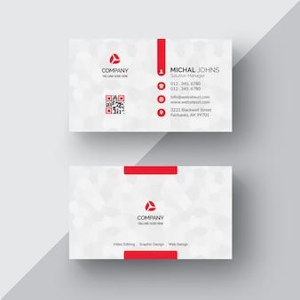 Cartão de visita branco com detalhes vermelhos
