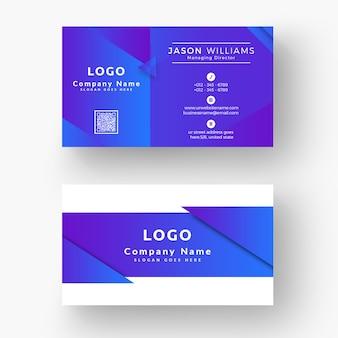 Cartão de visita moderno azul profissional