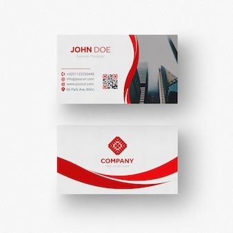 Cartão de visita vermelho e branco