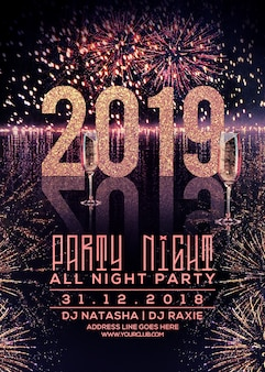 Cartaz de festa de ano novo 2019