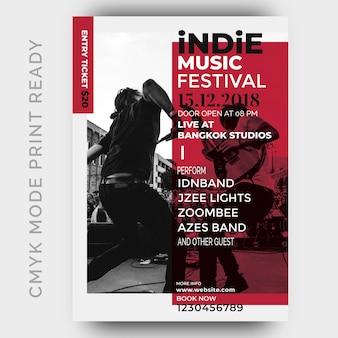 Cartaz do Festival de Música. Modelo de design de folheto