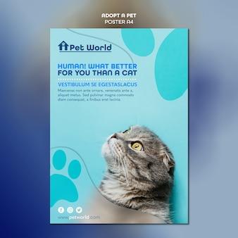 Cartel para adopción de mascotas con gato
