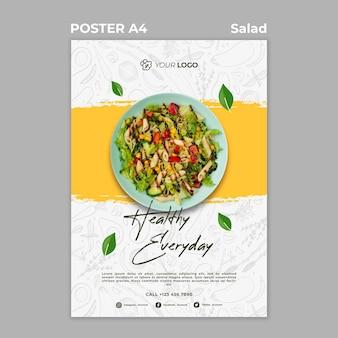 Cartel para almuerzo de ensalada saludable.